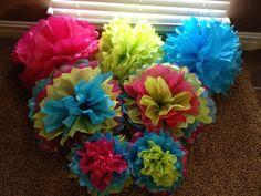 Tissue paper balls! Tissue Paper Ball, Tissue Balls, Paper Balls, Party Planning, Birthday Ideas, Decorations, Wedding, Valentines Day Weddings, Dekoration