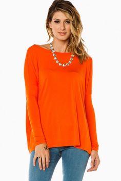 Cozy Long Sleeve Top in Orange by Piko