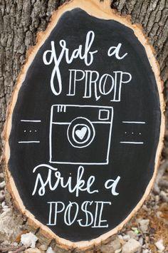 wedding chalkboard signs - grab a prop strike a pose