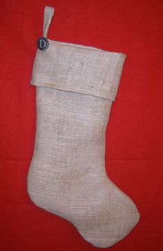 burlap stocking with letter button