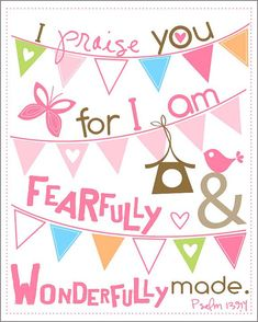 Cute for a bay girl's room.  Fearfully and Wonderfully made bunting  8 by by EmilyBurgerDesigns, $20.00