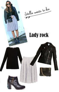 Copia el look lady rock de la blogger StellaWantsToDie con falda de @klingloves, jersey de @veromodafashion, cazadora de @ONLYjeans, botines de @pikolinos y bolso de Stella Rittwagen.