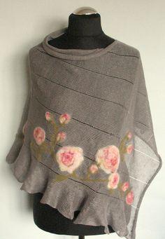 Linen Shawl Cape Clothing Natural Gray Pink Roses by Initasworks