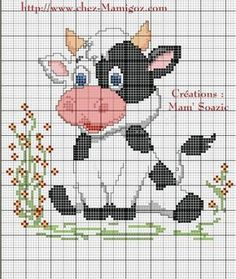 Embroidery stitches animals punto croce Ideas for 2019 Cross Stitch Cow, Cross Stitch For Kids, Cross Stitch Animals, Counted Cross Stitch Kits, Cross Stitch Charts, Cross Stitch Designs, Cross Stitch Patterns, Cross Stitching, Cross Stitch Embroidery