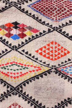 Detail of embroidered Berber Kilim from North Africa.