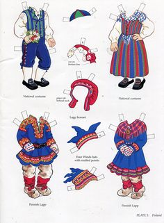 Kansallispukuja, paperinuket - book - libro - scandinavian girl and boy - paper doll - finland Art Origami, Reindeer Craft, Thinking Day, Vintage Paper Dolls, Paper Toys, Handmade Toys, Coloring Pages, Scandinavian, Costume