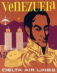 Artist Unknown  Venezuela - Delta Air Lines, 1955 ca.  22 x 28 inches (56 x 71 cm)  Silkscreen