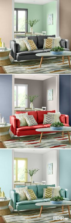 The 2017 BEHR Color Trends are here to solve all your design dilemmas. If you're wondering what shade to paint your living room, check out these three paint color palettes. Whether you prefer beachy hues like Peek a Blue, sophisticated Midnight Show, or feminine Life Is A Peach, there's a color combination for your space!