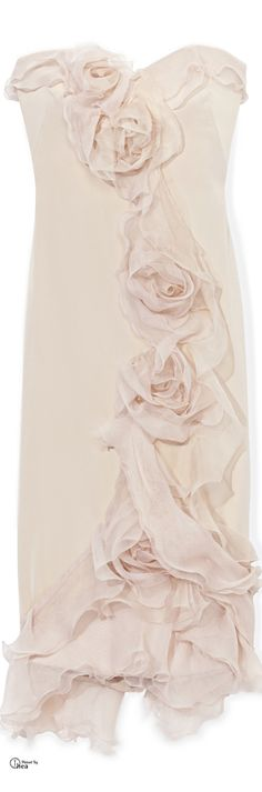 Marchesa ● Silk Cocktail Dress with Tulle Rose Detail jaglady