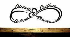 Custom Infinity Symbol with First Names, Heart, Always and Forever - Metal Name Sign - Personalized Wedding, Anniversary Couple Gift - Tattoos Infinity Name Tattoo, Double Infinity Tattoos, Infinity Tattoo Designs, Infinity Symbol, Infinity Tattoos For Couples, Unique Infinity Tattoo, Wrist Tattoos For Women, Tattoos For Kids, Family Tattoos