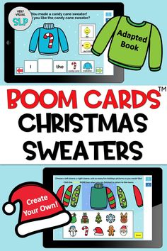 This speech and language resource targets both following directions/receptive language and expressive language. Included are an adapted book targeting 10 different Christmas vocabulary words and bonus pages that allow students to create their own Christmas sweaters! This activity is sure to keep students smiling and engaged (and of course learning)! #boomcards #Christmas #speechandlanguage #Christmassweater #teletherapy Receptive Language, Speech And Language, Christmas Activites, Vocabulary Words, Deck Of Cards, Early Childhood, Holiday Fun, Decks, Distance