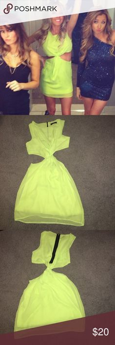 Lime neon bright green cutout dress twist small Cute cutout dress bright green. Sexy and makes you look tan. Worn a couple times to Vegas and girls nights! rare Dresses Mini