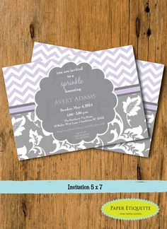 Items similar to Lavender and Gray Floral & Chevron Sprinkle, Baby Shower or Wedding Shower Invitation - Print Your Own Drive By Party ,Virtual Party on Etsy Lavender Wedding Invitations, Wedding Shower Invitations, Invites, Invitation Design, Camo Birthday, Sprinkle Invitations, Baby Sprinkle, Party Items