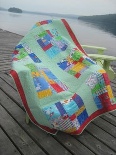 This is a nine patch quilt. I wish I could figure out the size of the blocks because I really do like this style!