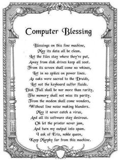 Computer Blessing ~ With so many bad virus's going about...