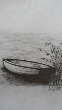 Charcoal Drawing Tips boat at Lake Balaton Graphite Drawings, Cool Drawings, Charcoal Drawings, Landscape Pencil Drawings, Boat Drawing, Sailboat Art, Pencil Drawing Tutorials, Charcoal Art, Drawing For Beginners