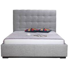 Moe's Home Collection Belle Upholstered Storage Bed Charcoal Queen By ($1,288) ❤ liked on Polyvore featuring home, furniture, beds, charcoal gray furniture, storage bed, queen furniture, fabric beds and upholstered furniture