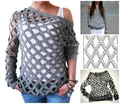 Crochet Off Shoulder Net Tunic Sweater Free Pattern (Video) ༺✿ƬⱤღ  http://www.pinterest.com/teretegui/✿༻