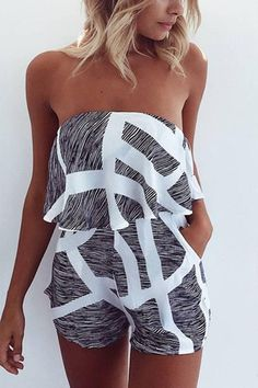 Sexy Off Shoulder Layered Design Playsuit