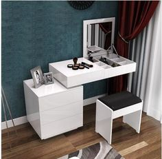 elegant modern dressing table design-for bedroom interior with folding mirror This is a full guide to choosing your 2018 Dressing tables for bedroom: design, style, ideas, storage, modern dressing table designs for small bedrooms Modern Dressing Table Designs, Small Dressing Table, Bedroom Dressing Table, White Dressing Tables, Dresser With Tv, Solid Wood Dresser, Modern Dresser, Home Bedroom, Bedroom Decor