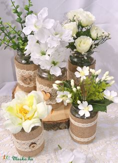 Befőttes üveg vázák esküvőre - KÉSZTERMÉK, Dekoráció, Esküvő, Dísz, Meska