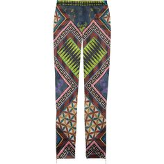 Matthew Williamson Printed stretch-satin skinny pants ($520) ❤ liked on Polyvore