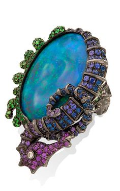 Lydia Courteille Under the Sea brooch with opals, sapphires, amethysts and a diamond.
