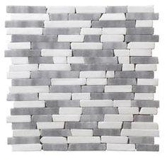 StoneSkin Dolomite and Grey Marble Peel 'n Stick Mosaic Tile Random - bathroom backsplash for upstairs? Best Floor Tiles, Floor Rugs, Mosaic Tiles, Wall Tiles, Rental Kitchen, Kitchen Reno, Kitchen Remodel, Kitchen Ideas, Diy Bathroom Remodel