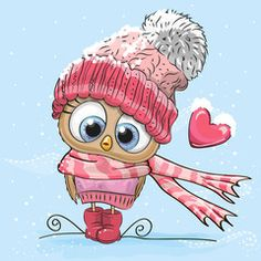 Illustration about Cute Cartoon Owl in a hat and scarf. Illustration of birds, cute, knitted - 79856147 Cute Images, Cute Pictures, Cartoon Mignon, Art Mignon, Illustration Noel, Owl Art, Cartoon Cartoon, Cute Owl Cartoon, Digi Stamps