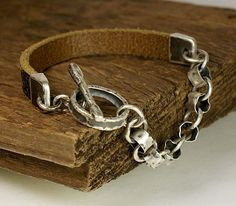 WESTEROS, Natural leather, Sterling Silver Bracelet - Mens Bracelet - Rustic Bracelet - Rocker Jewelry on Etsy, $94.54
