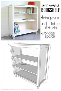 Build a bookshelf with adjustable shelves using this easy-to-follow building plan and tutorial.