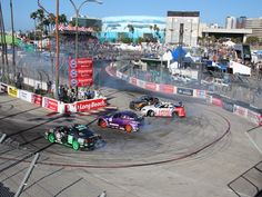 A group of cars drift around Turn 11 in Long Beach is here! Check out our latest pins! Drift Truck, Formula Drift, Street Racing Cars, Drifting Cars, Japanese Cars, Courses, Long Beach, Jdm, The Locals