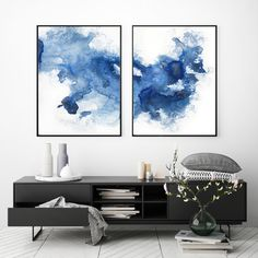 Modern Blue Watercolor Print Set Of 2 Abstract Watercolour Modern Art Set Scandinavian Art Blue Contemporary Art Set Modern Art Prints Modern Art Paintings, Modern Art Prints, Blue Abstract, Abstract Watercolor, Scandinavian Art, Blue Art, Printable Art, Framed Art, Wall Art