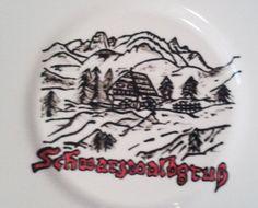 bemalter Teller, Porzellanmalerei, Porzellan, porcelain, eingebrannt, Schwarzwald