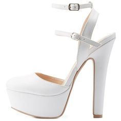 Charlotte Russe Double Buckle Platform Pumps (€31) ❤ liked on Polyvore featuring shoes, pumps, white, white shoes, platform pumps, vegan shoes, white strap pumps and thick heel platform pumps