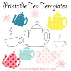 Free printable tea templates + digital teapot stamp - Teekanne Druckvorlage - freebie | MeinLilaPark – digital freebies