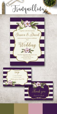 Purple and Gold Wedding Invitation Printable, Wedding Invitation Suite, Floral Wedding Invitation, Stripes Spring Summer Wedding Invite, Purple Wedding Ideas. More wedding stationery at: tranquillina.etsy.com