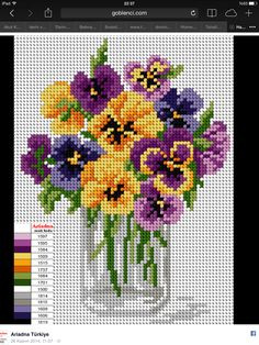 This Pin was discovered by Mar Butterfly Cross Stitch, Cross Stitch Rose, Cross Stitch Flowers, Cross Stitch Charts, Cross Stitch Designs, Cross Stitch Patterns, Ribbon Embroidery, Cross Stitch Embroidery, Embroidery Patterns