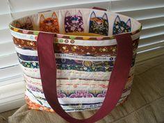 Val Spiers Sews: selvedges bag brown,, LOOK cats inside