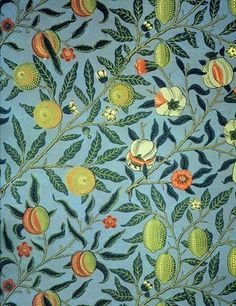 "William Morris ""Pomegranate"" wall paper design 1866. One of his most famous prints; you have probably seen it in homes, hotels or stores."
