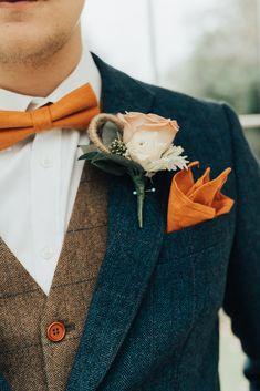 Groom Suit Navy Jacket Tweed Waistcoat Orange Bow Tie Rose Buttonhole Hoop Wedding Ideas Rebecca Carpenter Photography – World Wedding Groom, Wedding Men, Wedding Attire, Dream Wedding, Decor Wedding, Wedding Ideas, Summer Wedding, Perfect Wedding, Vintage Wedding Suits