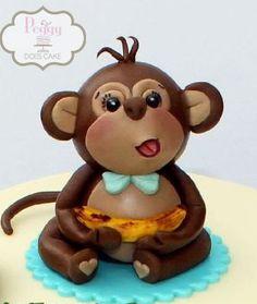 Fondant 3D Monkey Cake Topper by PeggyDoesCake on Etsy