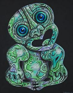 Paua Tiki by Joanne Webber - prints Anchor Wallpaper, Altered Canvas, Tiki Art, New Zealand Art, Nz Art, Maori Art, Kiwiana, Wall Art For Sale, Aboriginal Art