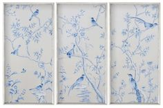 3 Hand Painted Grisaille Panels | Blue Birds | Trees | Gray Silk