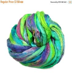 SALE Hand-dyes Mulberry Silk roving