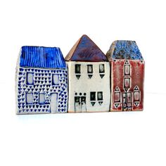 Blue And White Ceramic House. Miniature House. by BlueMagpieDesign