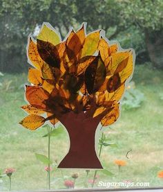 Fall leaf tree window decoration
