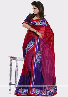 This tri-shaded saree will definitely give you glamorous look. Sequins and thread work floral patch enhancing its beauty. It will look good for semi-formal parties. http://goodbells.com/saree/multicolor-designer-saree.html