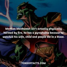He isn't actually physically harmed by fire, he has a pyrophobia because he watched his wife, child and people die in a blaze.  #martianmanhunter #tvshow #justiceleague #comics #dccomics #interesting #fact #facts #trivia #superheroes #memes #1