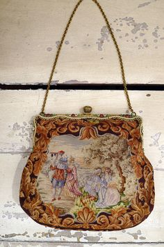 Antique French 1880s Embroidered Pe Point Double Sided Purse With Enamel Inlay Frame Vintage Handbags